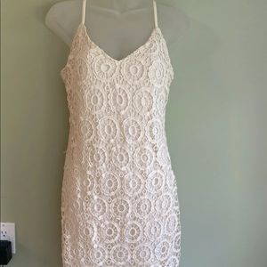 Off white floral pattern sleeveless dress
